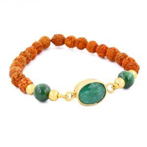 Gemstone Bangles, Bracelets - NirvanaGems Natural 6.25 Ratti Panna Emerald and Rudraksha Beads Adjustable Bracelet