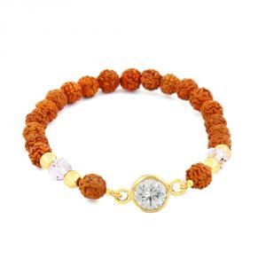 Gemstone Bangles, Bracelets - NirvanaGems Designer 5 Ct Zircon and Rudraksha Beads Adjustable Bracelet