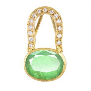Gemstone Pendants - NirvanaGems Designer 6 Ct Emerald Panna Panchdhatu Gemstone Pendant