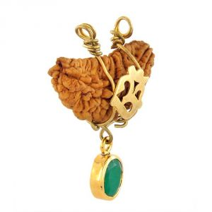 Spiritual Pendants - Nirvana Gems Ek Mukhi Rudraksh & 3.25 Ratti Emerald Pendant - (YSP41A-PNDT)