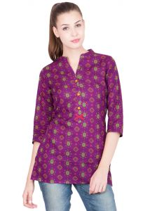 Sbo Fashion Purple Printed With Front Red Squire 100% Cotton Kurtis (sbof_1557_s_1557purple)