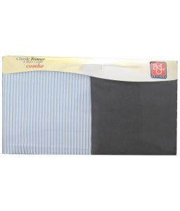 Bsl Unstitched Formal Set Of Blue Striped Shirt & Black Plain Trousers