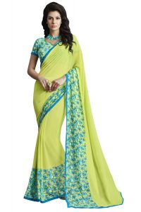 Georgette Sarees - Lime Green/Lime Yellow Colour Georgette Printed Saree With Blouse Aflatoon SG-1021
