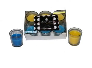 Ocean Blue-antique Sandalwood Dual-scent Votive Candle (pack Of 6)