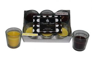 Antique Sandalwood-chocoholic Dual-scent Votive Candle (pack Of 6)