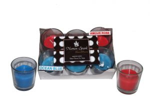 Amour Rose-ocean Blue Dual-scent Votive Candle (pack Of 6)