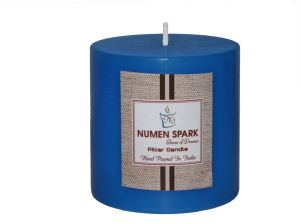 Ocean Blue Scented Smooth Pillar Candle (3 Inch X 3 Inch)