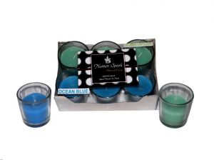 Ocean Blue-cucumber Cantaloupe Dual-scent Votive Candle (pack Of 6)