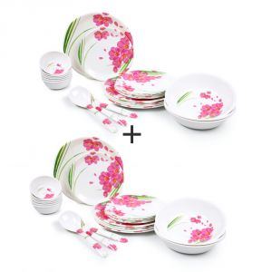 Czar Combo Pack Of 2 (24 Pic Dinner Set-pink Flower 1006)