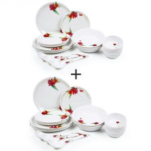 Czar Combo Pack Of 2 (24 Pic Dinner Set-red 1011)