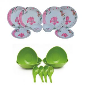 Czar Melamine 12 Pcs Dinner Set With 4 Soup Bowl Set -green