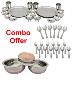 Czar Combo Of 24 PC Stainless Steel Dinner Set With Donga And 18 PC Steel Cutlery