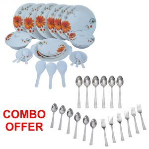 Czar Combo Of Stylon 32 PCs Dinner Set-sun Flower With Sleek 18 PCs Cutlery Set