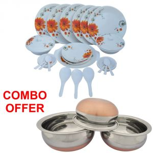 Czar Combo Of Stylon 32 PCs Dinner Set-sun Flower With Donga Copper Bas (set Of 3)