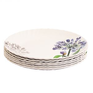 Crockery - Czar 6 Pcs White Small Plate Blue flower