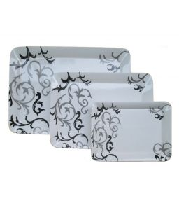 Czar Dine Smart Black Design Set Of 3 Ellora Heavy Nice Serving Trays