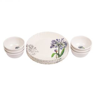 Czar 6 PCs Blue Flower Half Plate With 6 PCs Veg Bowl
