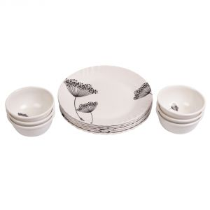 Czar 6 PCs Brown Flower Half Plate With 6 PCs Veg Bowl