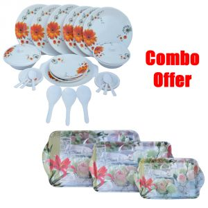 Czar Combo Of 32 PC Melamine Dinner Set Sun Flower With E-6 (3 PC Melamine Serving Tray )