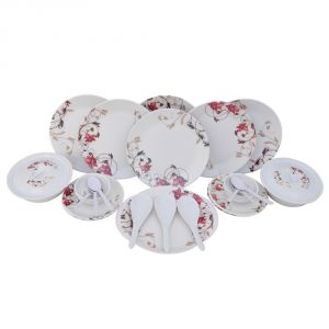 Czar Melamine 32 Pic Dinner Set-maroon Leaf-302
