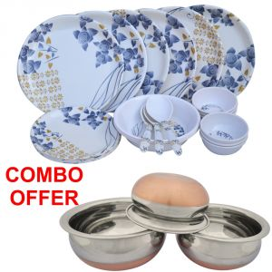 Czar Combo Of 24 PCs Dinner Set-1005 With Donga Copper Bas (set Of 3)