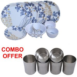 Czar Combo Of 24 PCs Dinner Set-1005 With Stainless Steel Glass ( Pack Of 6 Pcs)