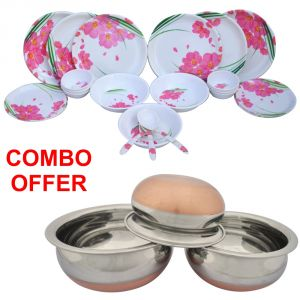 Czar Combo Of 24 PCs Dinner Set-1006 With Donga Copper Bas (set Of 3)