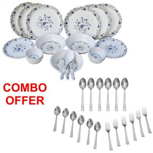 Czar Combo Of 24 PCs Dinner Set-1009 With Sleek 18 PCs Cutlery Set