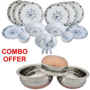 Czar Combo Of 24 PCs Dinner Set-1009 With Donga Copper Bas (set Of 3)