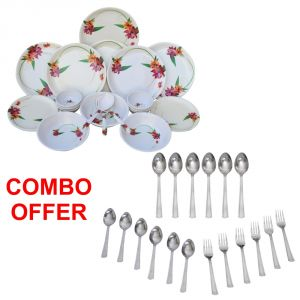 Czar Combo Of 24 PCs Dinner Set-1011 With Sleek 18 PCs Cutlery Set