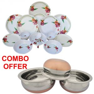 Czar Combo Of 24 PCs Dinner Set-1011 With Donga Copper Bas (set Of 3)