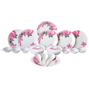 Czar Melamine 32 Pic Dinner Set-pink & Green Leaf-306