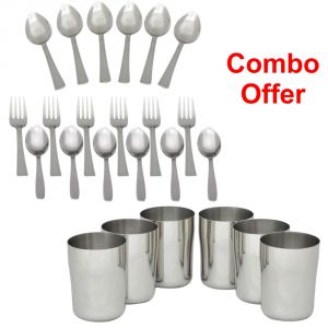 Czar Combo Of 18 PC Steel Cutlery With Stainless Steel Glass - Set Of 6