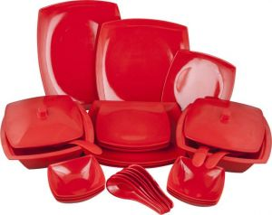 Melamine Czar New Square Dinner Set 32 Pic-red