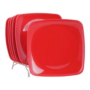 Crockery - Czar New Square Half plate pack of 6-RED