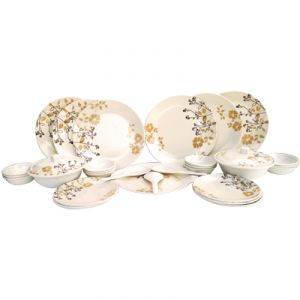 Czar Dine Smart Stylon 32 Pic Dinner Set-golden Leaf