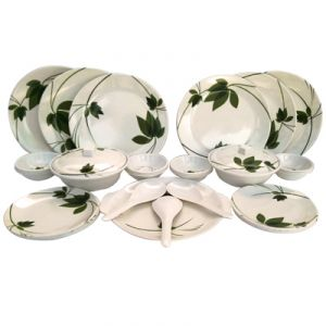 Czar Dine Smart Stylon 32 Pic Dinner Set-green Leaf