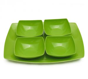 Melamine Czar New 4 Veg Bowl With Tray-green