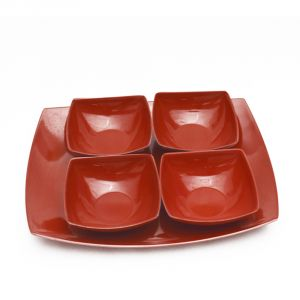 Melamine Czar New 4 Veg Bowl With Tray-red