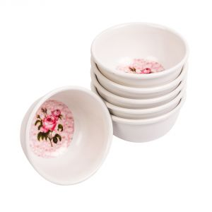 Czar Veg Bowl 6 PCs White Rose Flower