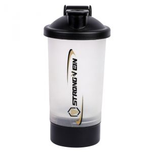 Czar 600 Ml Protein Shaker Gym Bottle With 1 Storage Compartments Cup (white)