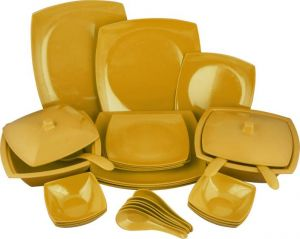 Melamine Czar New Square Dinner Set 32 Pic-yellow