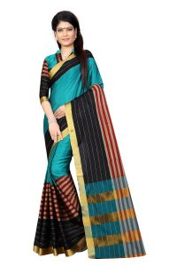 Vedant Vastram Blue Colour Poly Silk Chanderi Printed Saree (code - Vvm_1024_blue)