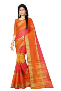 Vedant Vastram Orange Colour Poly Silk Chanderi Printed Saree (code - Vvm_1026_yellow)
