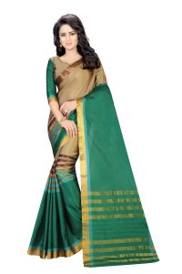 Vedant Vastram Green Colour Poly Silk Chanderi Printed Saree (code - Vvm_1039_green)