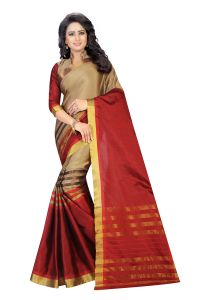 Vedant Vastram Red Colour Poly Silk Chanderi Printed Saree (code - Vvm_1040_red)