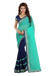 Vedant Vastram Turquoise Colour Georgette Embroidered Saree (code - Vvask_1062)