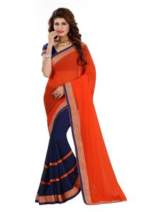 Vedant Vastram Red Colour Georgette Embroidered Saree (code - Vvask_1063)