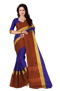 Vedant Vastram Blue Colour Poly Silk Chanderi Printed Saree (code - Vvm_1068_blue_brown)