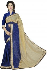 Vedant Vastram Golden Colour Georgette Embroidered Saree (code - Vvask_1075)